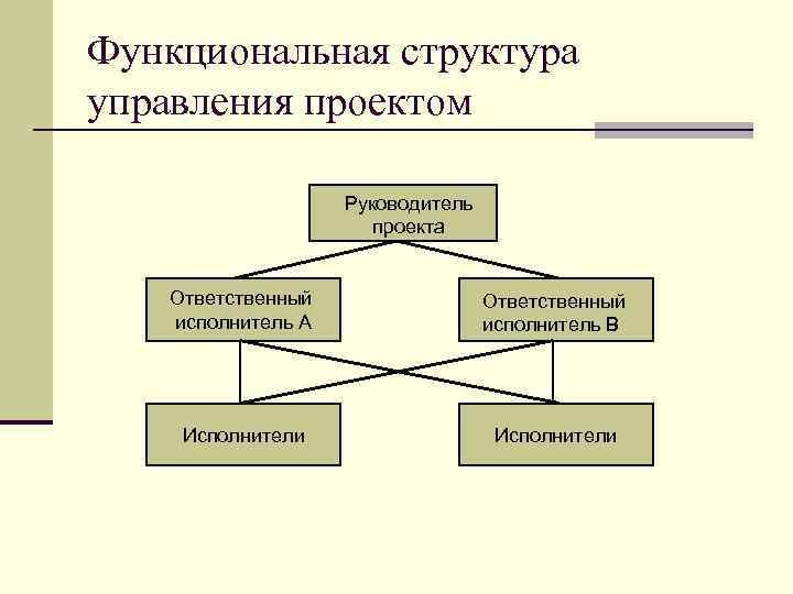 Функциональная структура управления проектом Руководитель проекта Ответственный исполнитель А Ответственный исполнитель В Исполнители