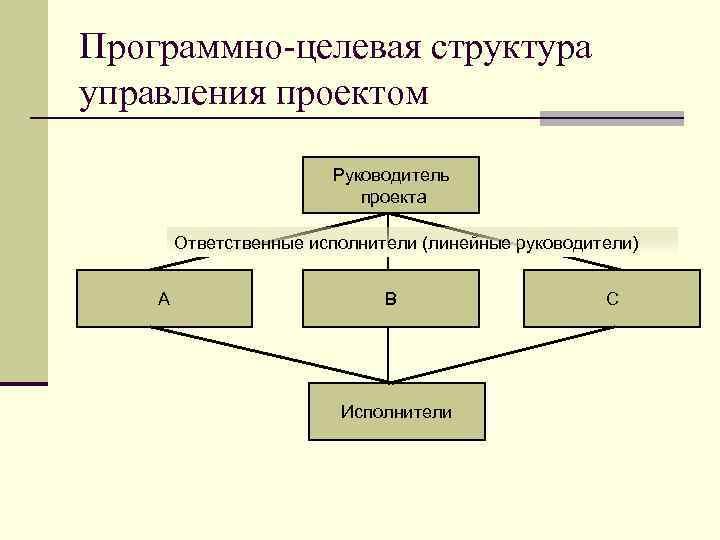 Программно-целевая структура управления проектом Руководитель проекта Ответственные исполнители (линейные руководители) А В Исполнители С