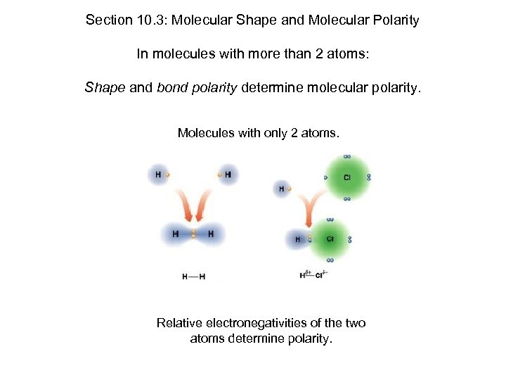 Section 10. 3: Molecular Shape and Molecular Polarity In molecules with more than 2