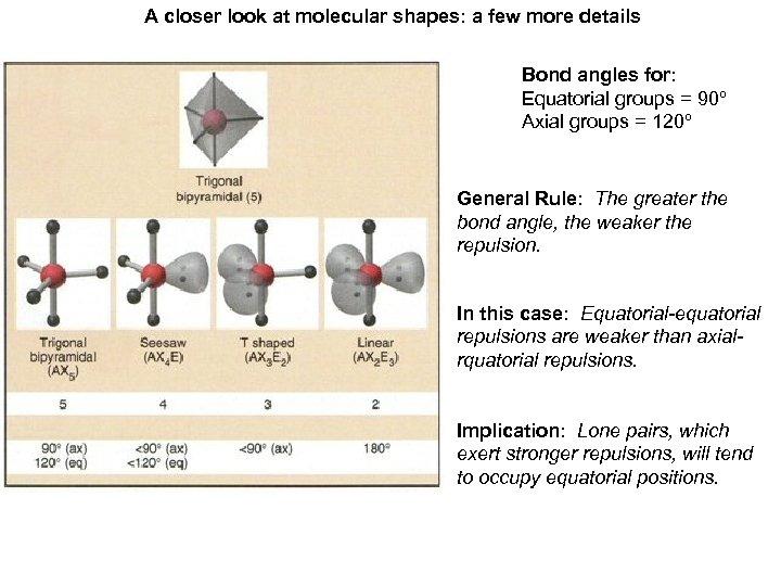 A closer look at molecular shapes: a few more details Bond angles for: Equatorial