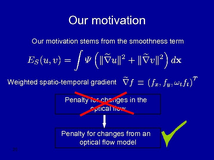 Our motivation stems from the smoothness term Weighted spatio-temporal gradient Penalty for changes in