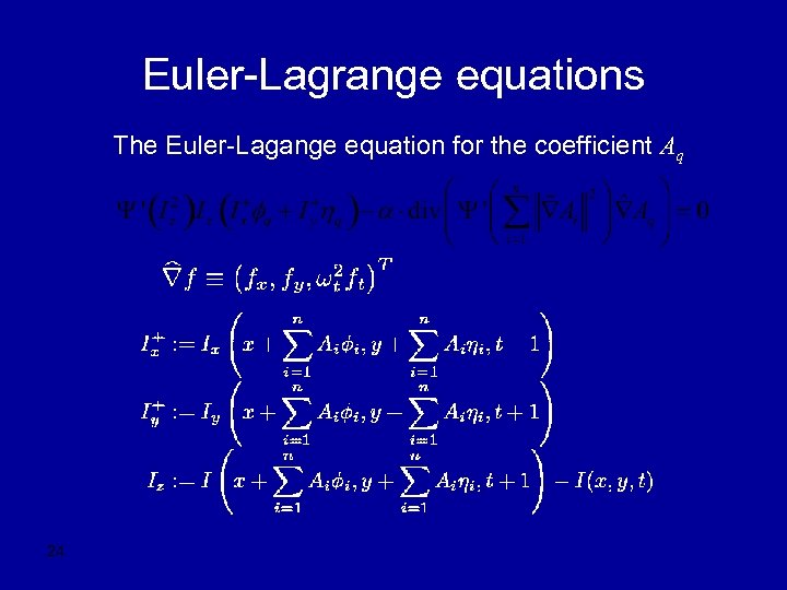 Euler-Lagrange equations The Euler-Lagange equation for the coefficient Aq 24