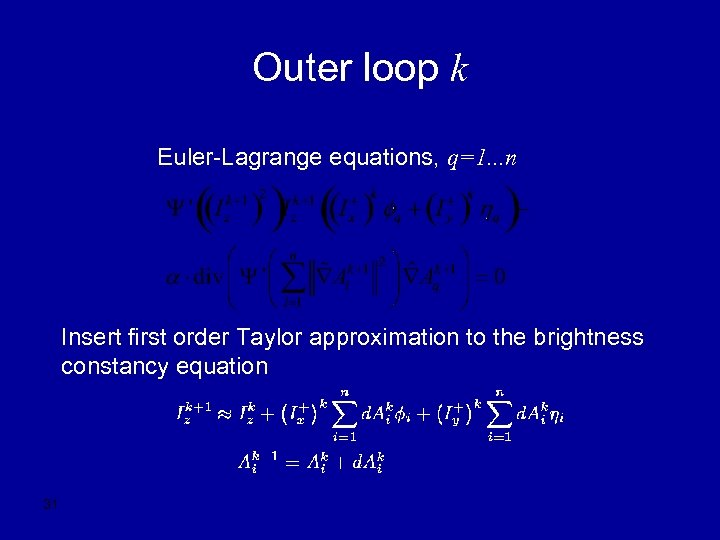 Outer loop k Euler-Lagrange equations, q=1. . . n Insert first order Taylor approximation