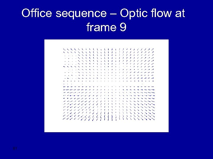 Office sequence – Optic flow at frame 9 61