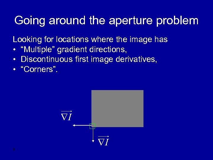 "Going around the aperture problem Looking for locations where the image has • ""Multiple"""