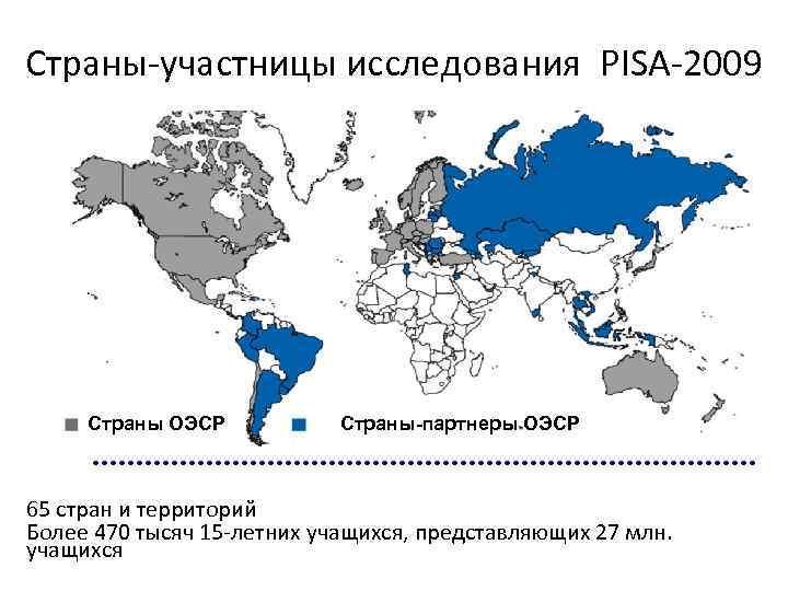 Страны-участницы исследования PISA-2009 Страны ОЭСР Страны-партнеры ОЭСР 65 стран и территорий Более 470 тысяч