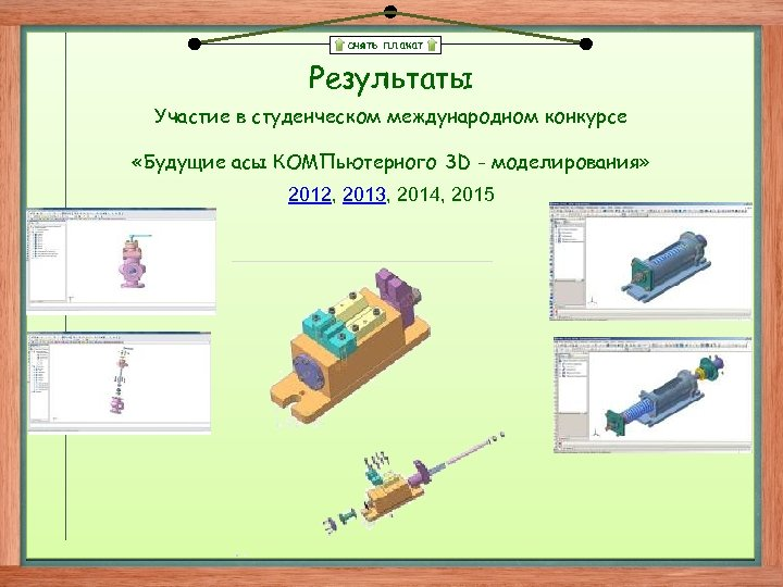 снять плакат Результаты Участие в студенческом международном конкурсе «Будущие асы КОМПьютерного 3 D -