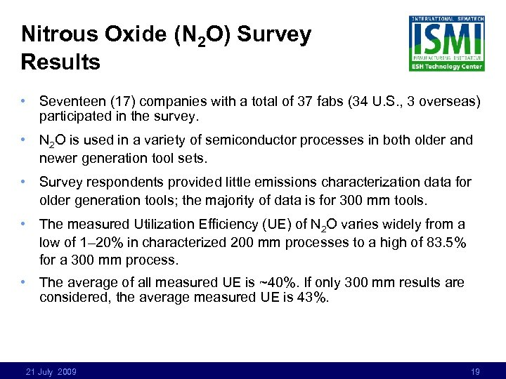 Nitrous Oxide (N 2 O) Survey Results • Seventeen (17) companies with a total