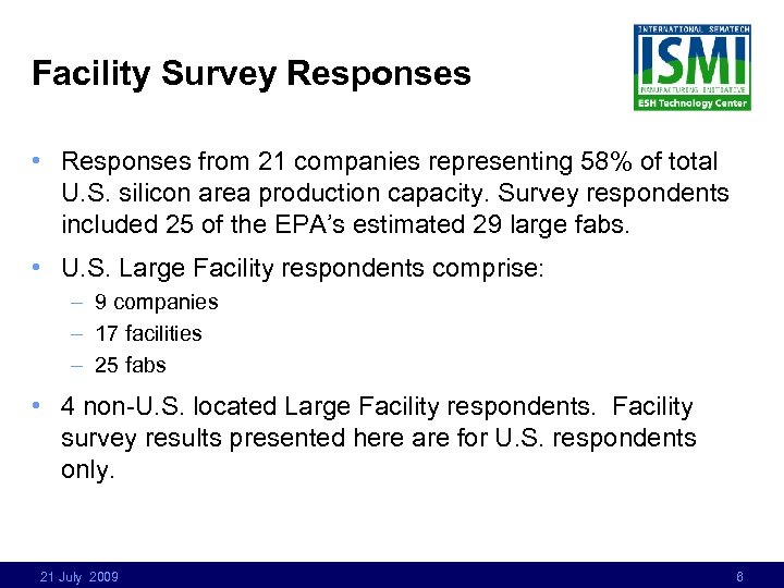Facility Survey Responses • Responses from 21 companies representing 58% of total U. S.