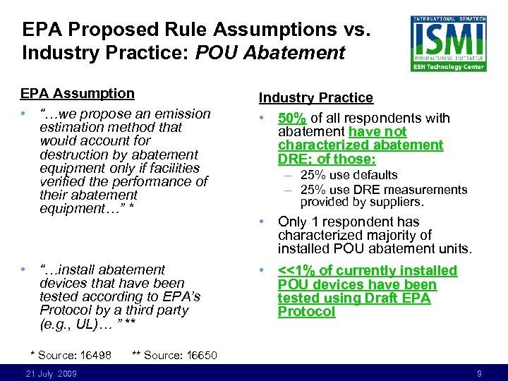 """EPA Proposed Rule Assumptions vs. Industry Practice: POU Abatement EPA Assumption • """"…we propose"""
