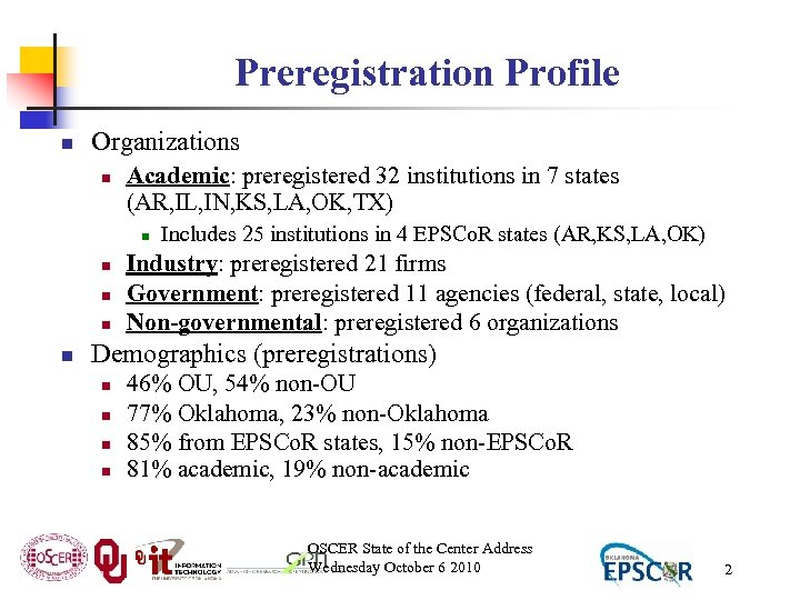 Preregistration Profile n Organizations n Academic: preregistered 32 institutions in 7 states (AR, IL,