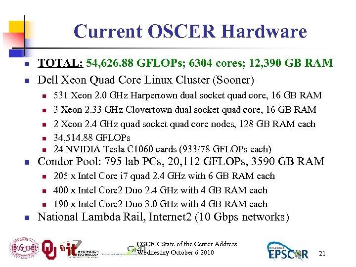 Current OSCER Hardware n n TOTAL: 54, 626. 88 GFLOPs; 6304 cores; 12, 390