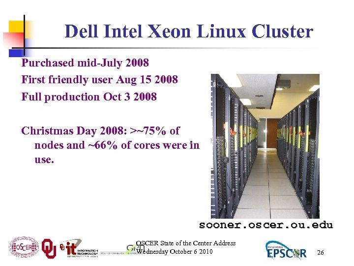 Dell Intel Xeon Linux Cluster Purchased mid-July 2008 First friendly user Aug 15 2008