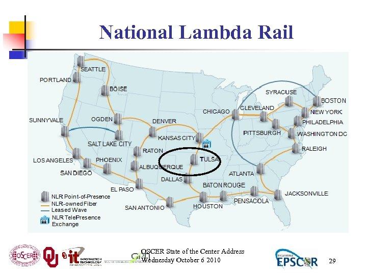 National Lambda Rail OSCER State of the Center Address Wednesday October 6 2010 29