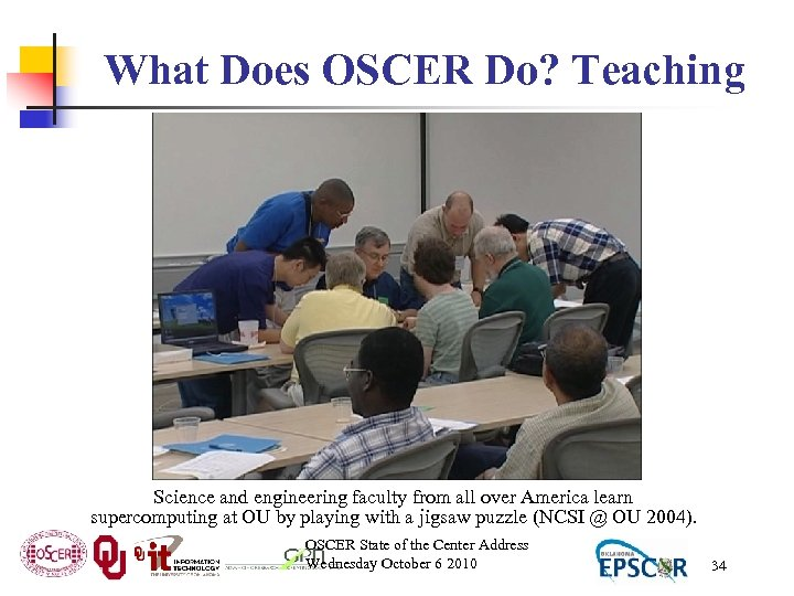 What Does OSCER Do? Teaching Science and engineering faculty from all over America learn