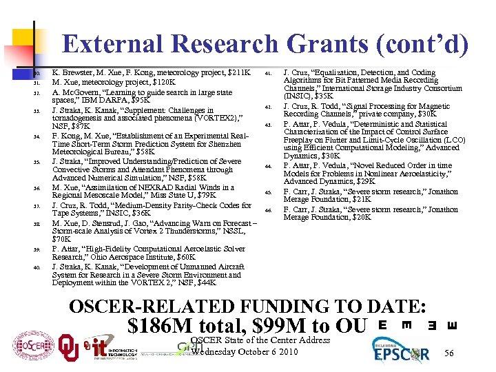 External Research Grants (cont'd) 32. 33. 34. 35. 36. 37. 38. 39. 40. K.