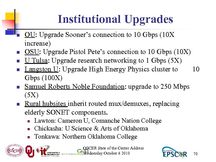 Institutional Upgrades n n n OU: Upgrade Sooner's connection to 10 Gbps (10 X