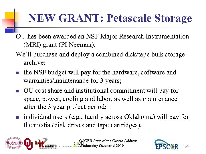 NEW GRANT: Petascale Storage OU has been awarded an NSF Major Research Instrumentation (MRI)