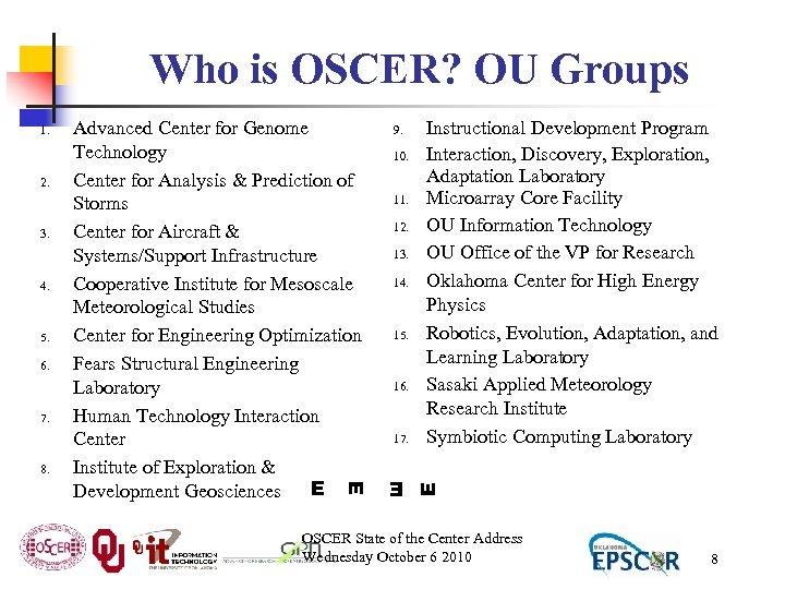 Who is OSCER? OU Groups 3. 4. 5. 6. 7. 8. 9. 10. 11.