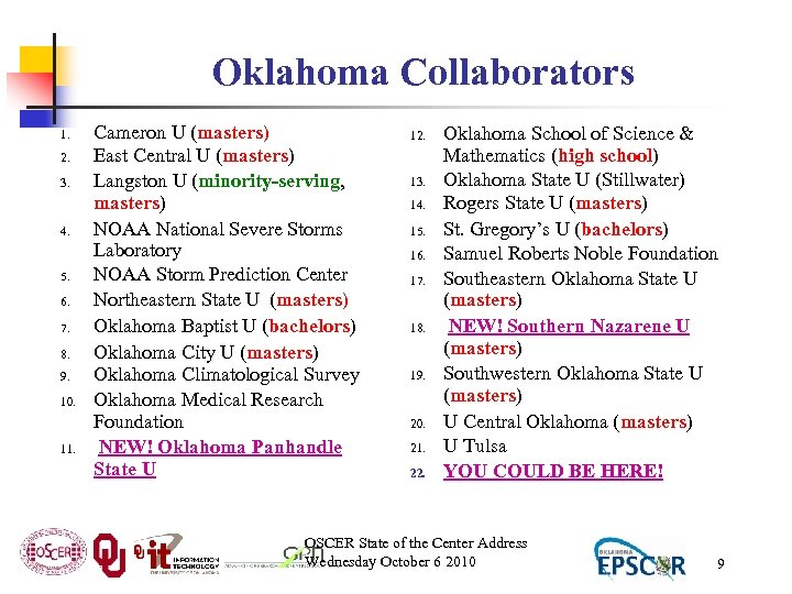 Oklahoma Collaborators 1. 2. 3. 4. 5. 6. 7. 8. 9. 10. 11. Cameron