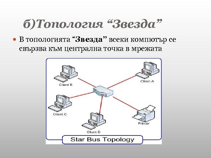 """б)Топология """"Звезда"""" В топологията """"Звезда"""" всеки компютър се свързва към централна точка в мрежата"""