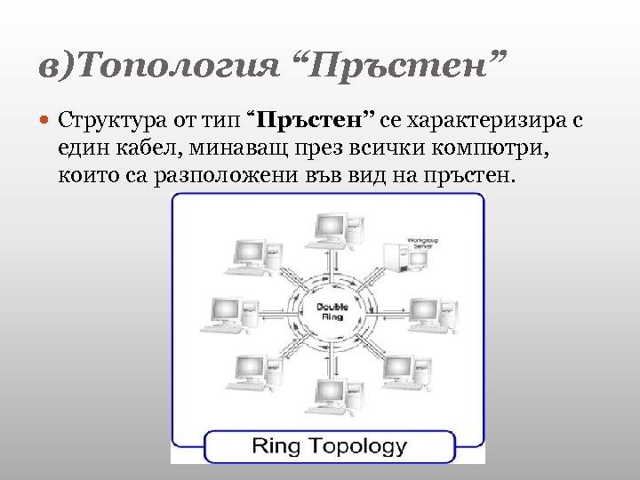 """в)Топология """"Пръстен"""" Структура от тип """"Пръстен"""" се характеризира с един кабел, минаващ през всички"""
