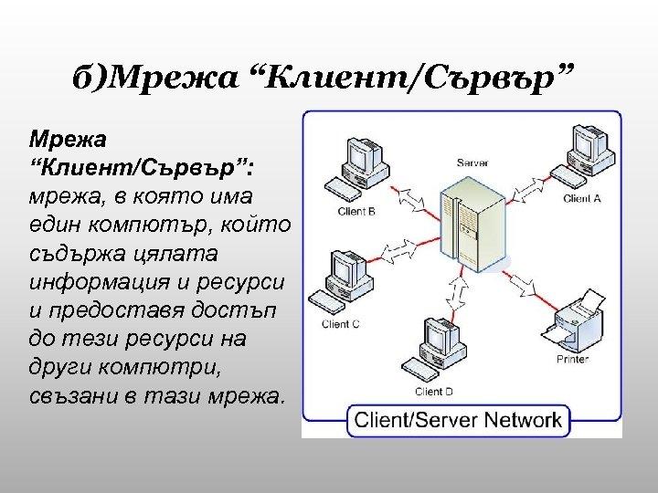 """б)Мрежа """"Клиент/Сървър"""": мрежа, в която има един компютър, който съдържа цялата информация и ресурси"""