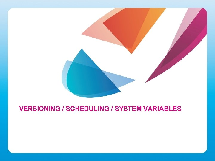 VERSIONING / SCHEDULING / SYSTEM VARIABLES