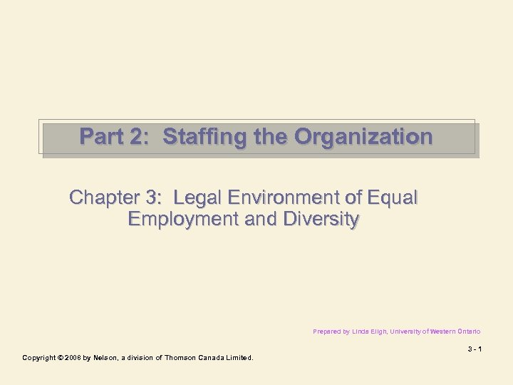 Part 2: Staffing the Organization Chapter 3: Legal Environment of Equal Employment and Diversity