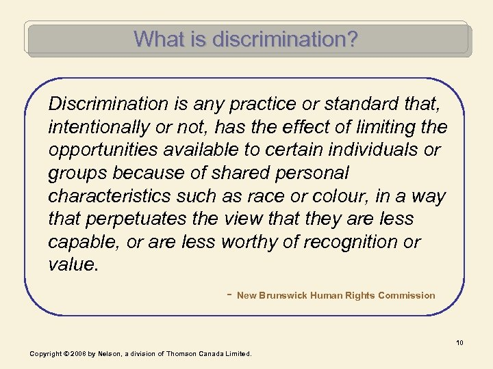 What is discrimination? Discrimination is any practice or standard that, intentionally or not, has