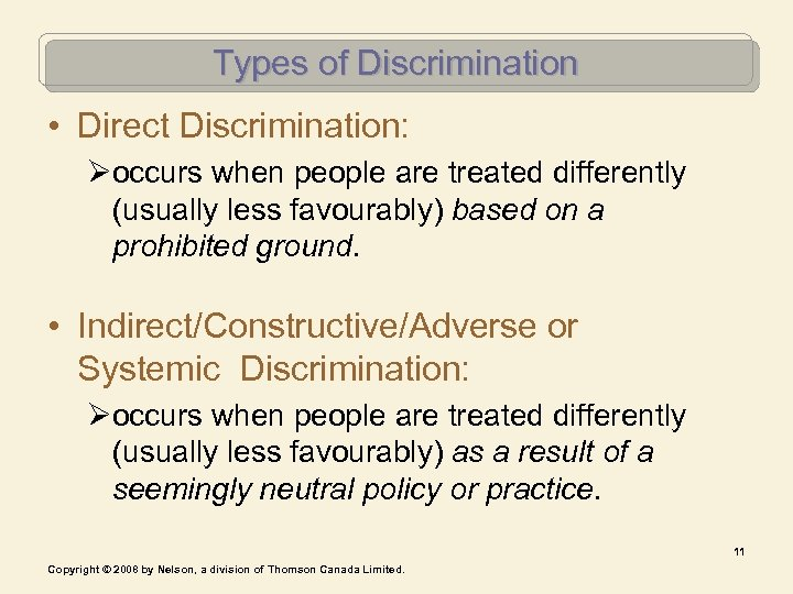 Types of Discrimination • Direct Discrimination: Øoccurs when people are treated differently (usually less