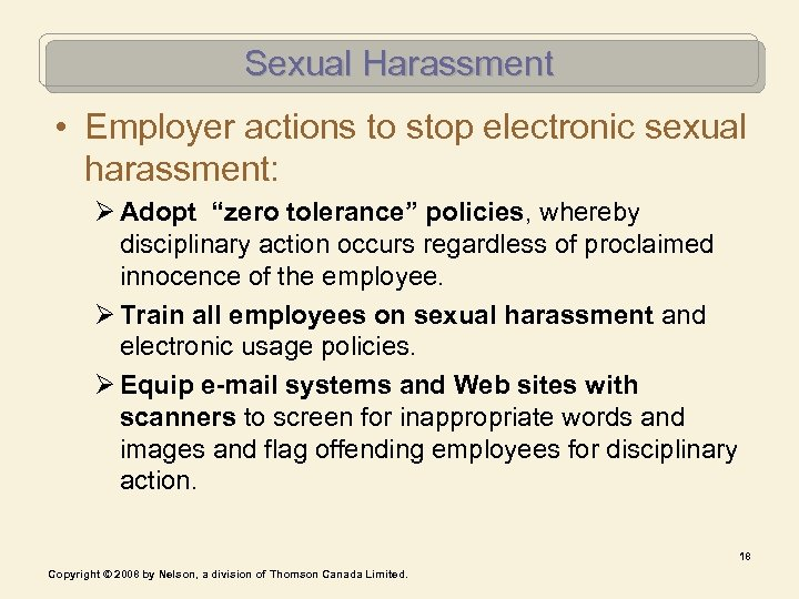 """Sexual Harassment • Employer actions to stop electronic sexual harassment: Ø Adopt """"zero tolerance"""""""