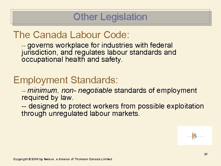 Other Legislation The Canada Labour Code: -- governs workplace for industries with federal jurisdiction,