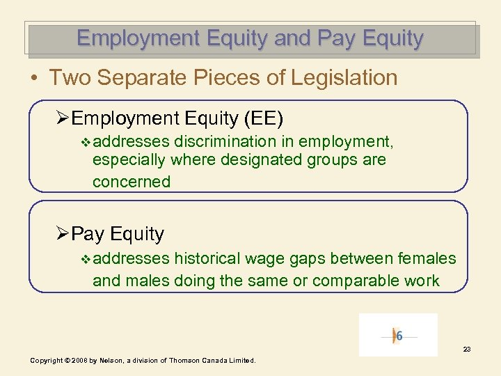 Employment Equity and Pay Equity • Two Separate Pieces of Legislation ØEmployment Equity (EE)