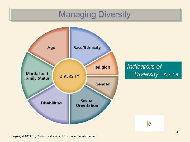 Managing Diversity Indicators of Diversity Fig. 3 -8 35 Copyright © 2008 by Nelson,