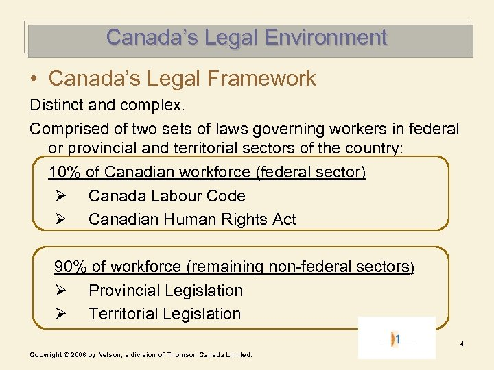 Canada's Legal Environment • Canada's Legal Framework Distinct and complex. Comprised of two sets