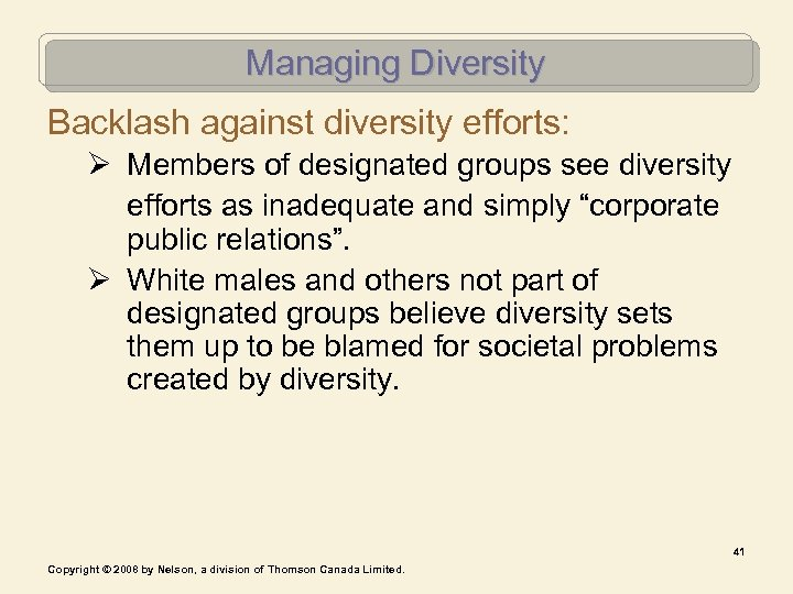 Managing Diversity Backlash against diversity efforts: Ø Members of designated groups see diversity efforts