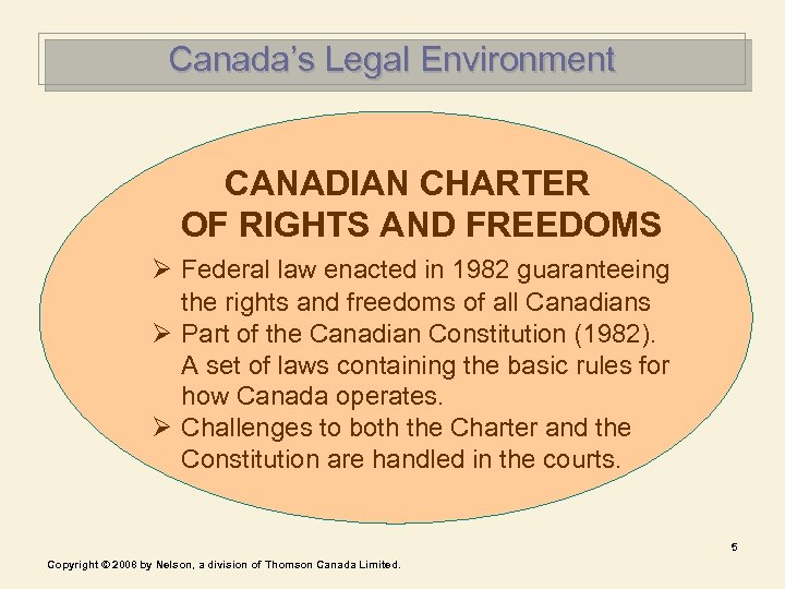 Canada's Legal Environment CANADIAN CHARTER OF RIGHTS AND FREEDOMS Ø Federal law enacted in