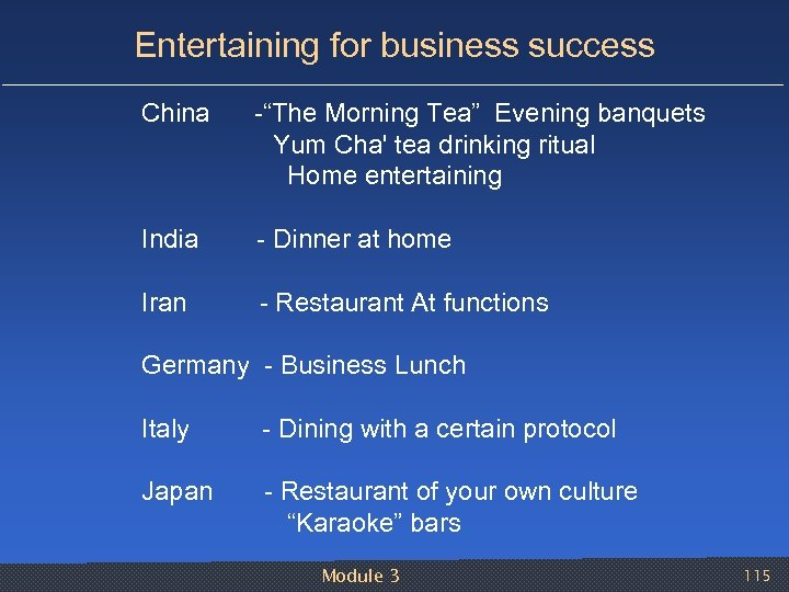 "Entertaining for business success China ""The Morning Tea"" Evening banquets Yum Cha' tea drinking"