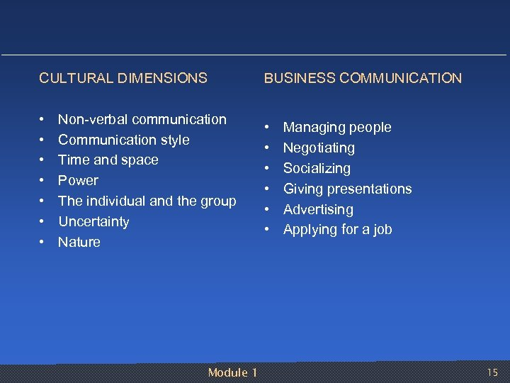 CULTURAL DIMENSIONS BUSINESS COMMUNICATION • • • • Non verbal communication Communication style Time
