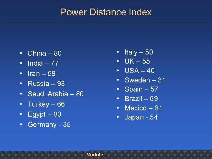Power Distance Index • • • • China – 80 India – 77 Iran