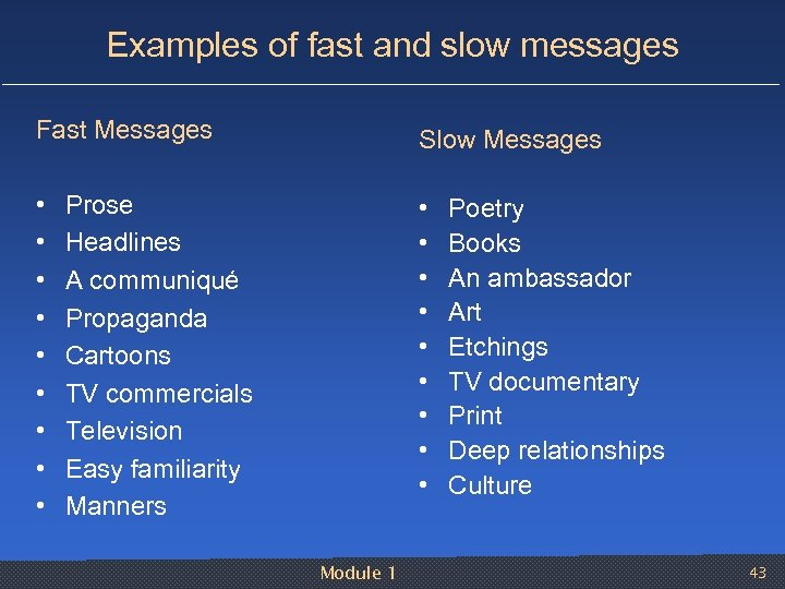 Examples of fast and slow messages Fast Messages Slow Messages • • • •