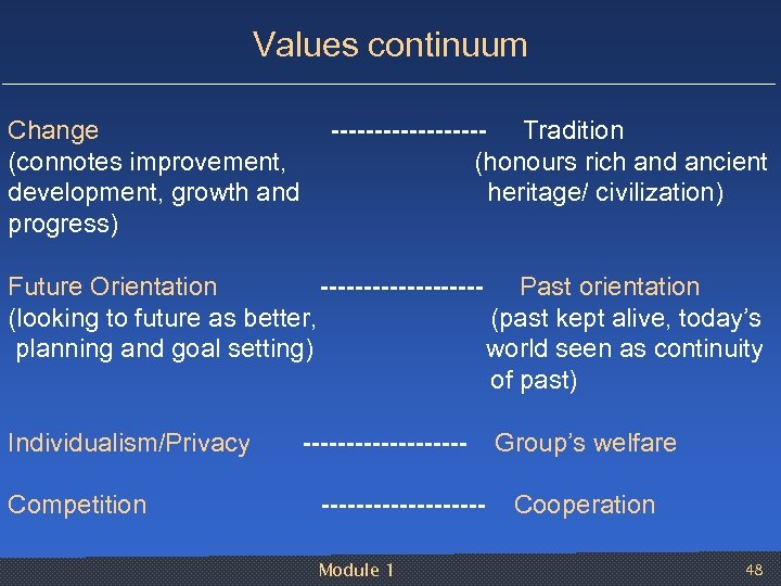 Values continuum Change --------- Tradition (connotes improvement, (honours rich and ancient development, growth and