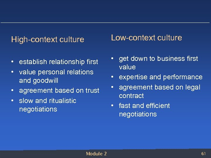 High context culture Low context culture • establish relationship first • value personal relations
