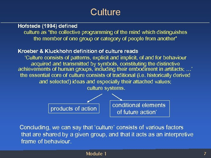 "Culture Hofstede (1994) defined culture as ""the collective programming of the mind which distinguishes"