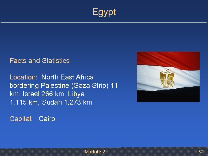 Egypt Facts and Statistics Location: North East Africa bordering Palestine (Gaza Strip) 11 km,