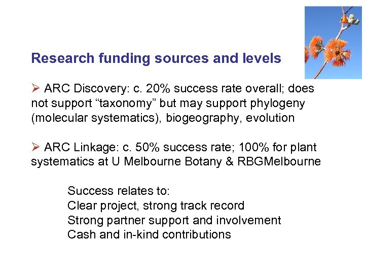Research funding sources and levels Ø ARC Discovery: c. 20% success rate overall; does