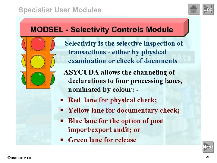 Specialist User Modules End MODSEL - Selectivity Controls Module Selectivity is the selective inspection