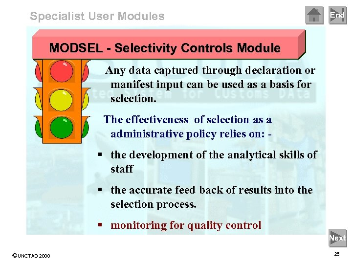 Specialist User Modules End MODSEL - Selectivity Controls Module Any data captured through declaration