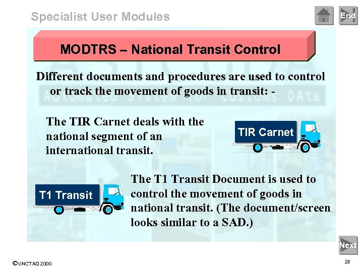 Specialist User Modules End MODTRS – National Transit Control Different documents and procedures are